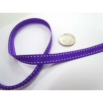 Stitch Ribbon 10mm- Purple / White